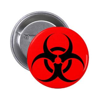 Bio Hazard or Biohazard Sign Symbol Warning Red 2 Inch Round Button