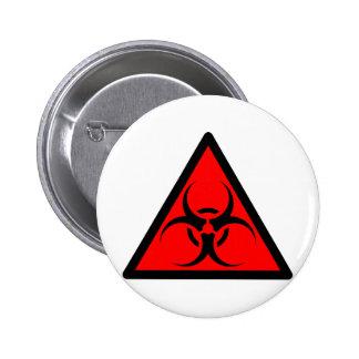 Bio Hazard or Biohazard Sign Symbol Warning Red Button