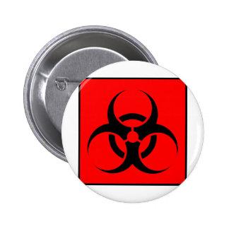 Bio Hazard or Biohazard Sign Symbol Warning Red Pinback Button