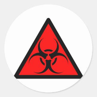 Bio Hazard or Biohazard Sign Symbol Warning Red Classic Round Sticker