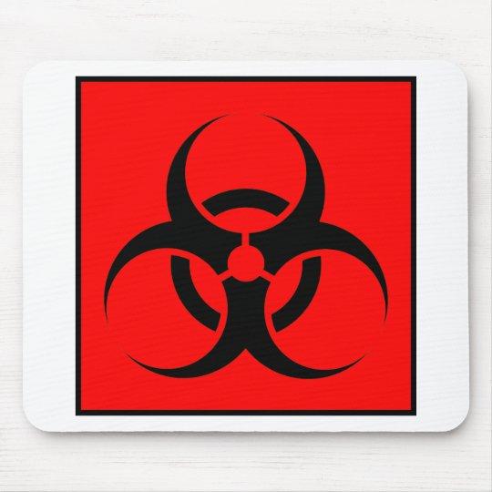 Bio Hazard or Biohazard Sign Symbol Warning Red Mouse Pad