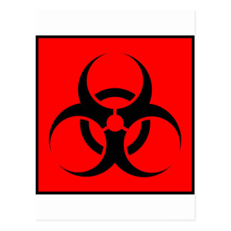 Bio Hazard or Biohazard Sign Symbol Warning Red Postcard
