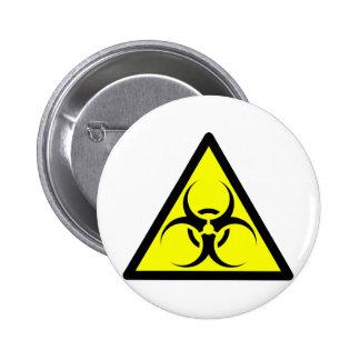 Bio Hazard or Biohazard Sign Symbol Warning Yellow Pinback Button