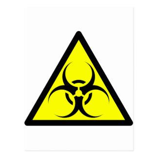 Bio Hazard or Biohazard Sign Symbol Warning Yellow Postcard