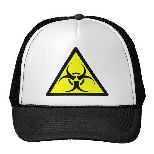Bio Hazard or Biohazard Sign Symbol Warning Yellow Trucker Hat