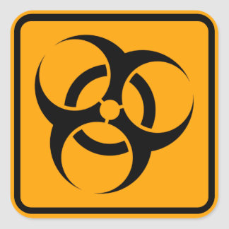 Bio Hazard Warning Sign Biohazard Yellow Diamond Square Sticker
