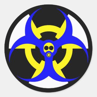 bio-nuclear hazard 5 classic round sticker