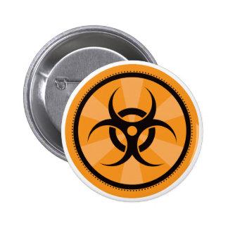 Bio-Peligro - naranja Pin Redondo 5 Cm