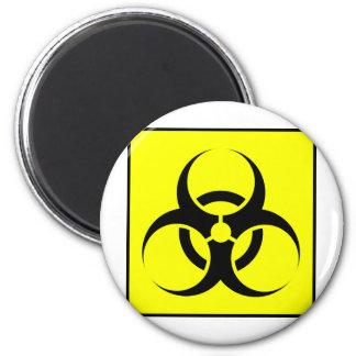 Bio peligro o amarillo de cuidado del símbolo de l iman para frigorífico