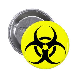 Bio peligro o amarillo de cuidado del símbolo de l pin redondo 5 cm