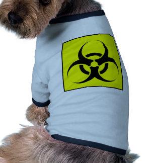 Bio peligro o amarillo de cuidado del símbolo de l camisa de mascota