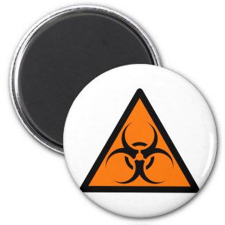 Bio peligro o naranja amonestador del símbolo de l imán de frigorifico
