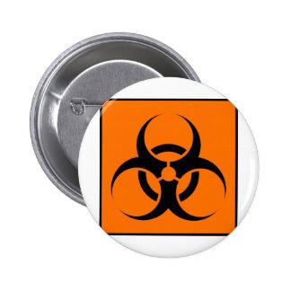 Bio peligro o naranja amonestador del símbolo de l pin
