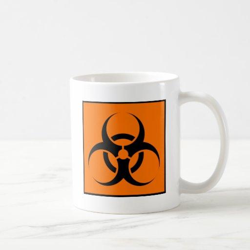 Bio peligro o naranja amonestador del símbolo de l taza de café