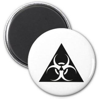 Bio peligro o negro de cuidado del símbolo de la m imanes para frigoríficos