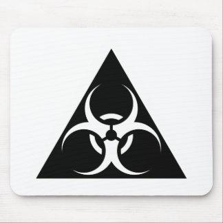 Bio peligro o negro de cuidado del símbolo de la m alfombrilla de ratones