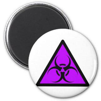 Bio peligro o púrpura de cuidado del símbolo de la iman de nevera