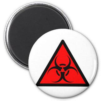 Bio peligro o rojo de cuidado del símbolo de la mu iman para frigorífico