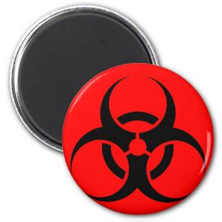 Bio peligro o rojo de cuidado del símbolo de la mu iman de frigorífico