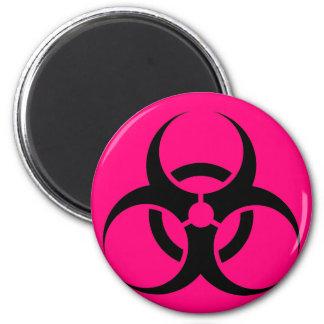 Bio peligro o rosa de cuidado del símbolo de la mu imán de frigorifico