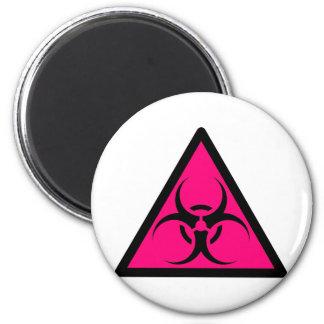 Bio peligro o rosa de cuidado del símbolo de la mu imanes