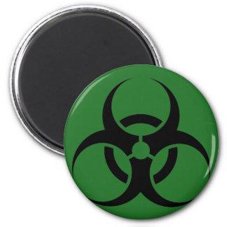 Bio peligro o verde de cuidado del símbolo de la m iman para frigorífico
