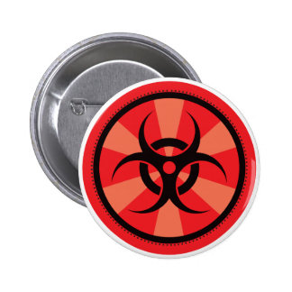 Bio-Peligro - rojo Pin Redondo 5 Cm