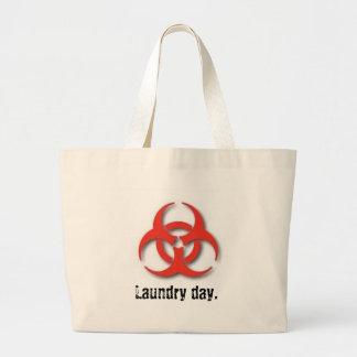 Bio-Peligro-Símbolo, día del lavadero Bolsa De Tela Grande