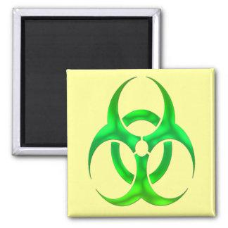 Bio peligro verde eléctrico imán cuadrado