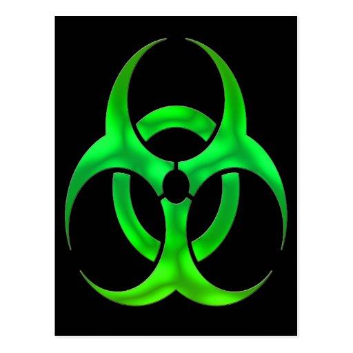 Bio peligro verde eléctrico tarjetas postales