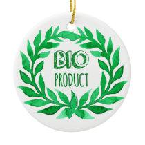 Bio Product Green Watercolor Farm Fresh Food Ceramic Ornament
