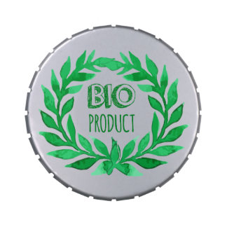 Bio Product Green Watercolor Farm Fresh Food Jelly Belly Tin