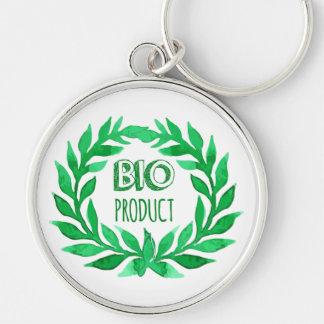 Bio Product Green Watercolor Farm Fresh Food Keychain