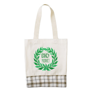 Bio Product Green Watercolor Farm Fresh Food Zazzle HEART Tote Bag