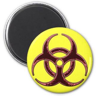 Bio símbolo oxidado del peligro imán redondo 5 cm