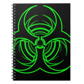 Bio símbolo verde de neón enrrollado del peligro libreta
