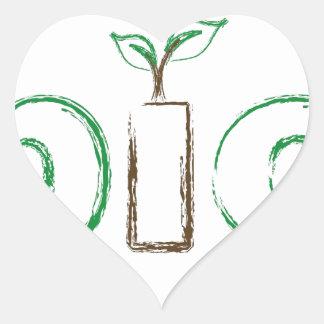 Bio texto con un efecto del almácigo y del bosquej pegatina de corazón personalizadas