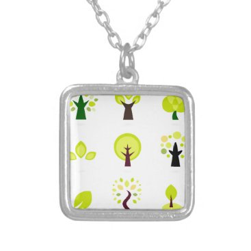Professional Business Bio trees original drawing : Tshirts Silver Plated Necklace