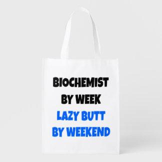 Biochemist by Week Lazy Butt by Weekend Reusable Grocery Bags