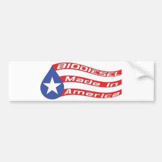 Biodiesel hecho en bandera de los E.E.U.U. Pegatina Para Auto