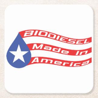 Biodiesel hecho en bandera de los E.E.U.U. Posavasos Personalizable Cuadrado