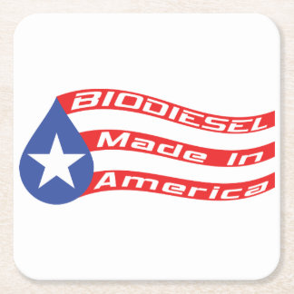 Biodiesel Made In USA Flag Square Paper Coaster
