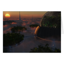 biodome, trees, science, fiction, sunset, clouds, Card with custom graphic design
