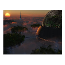 biodome, trees, science, fiction, sunset, clouds, Postcard with custom graphic design