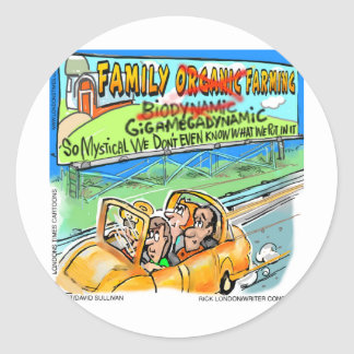 Biodynamic Farm? Funny Gifts Tees Cards Mugs Etc Classic Round Sticker