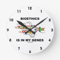 Bioethics Is In My Genes (DNA Replication) Round Clock