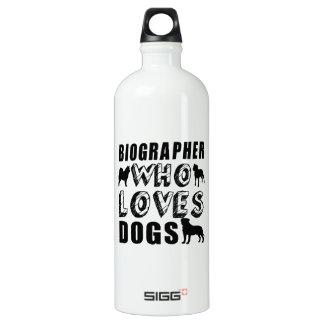 biographer Who Loves Dogs Water Bottle