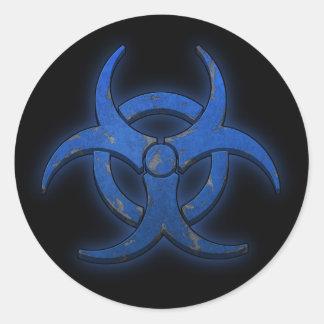Biohazard azul etiqueta