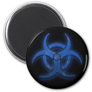 Biohazard azul imán redondo 5 cm