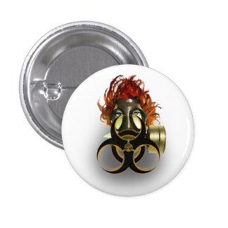 </biohazard> badge 1 inch round button